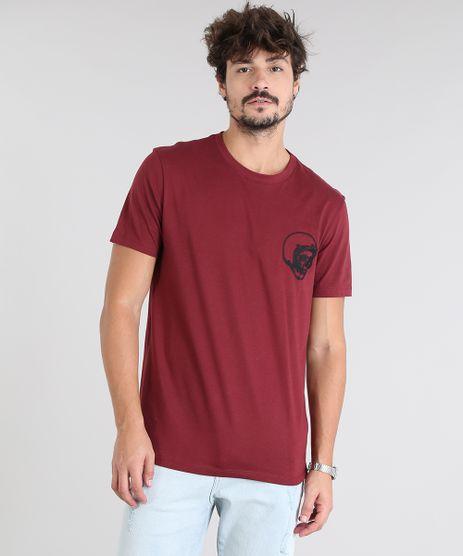 Camiseta-Masculina-com-Bordado-de-Caveira-Manga-Curta-Gola-Careca-Vinho-9525225-Vinho_1