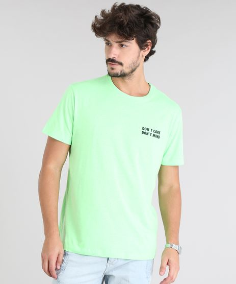 Camiseta-Masculina--Don-t-Care-Don-t-Mind--Manga-Curta-Gola-Careca-Verde-Neon-9601069-Verde_Neon_1