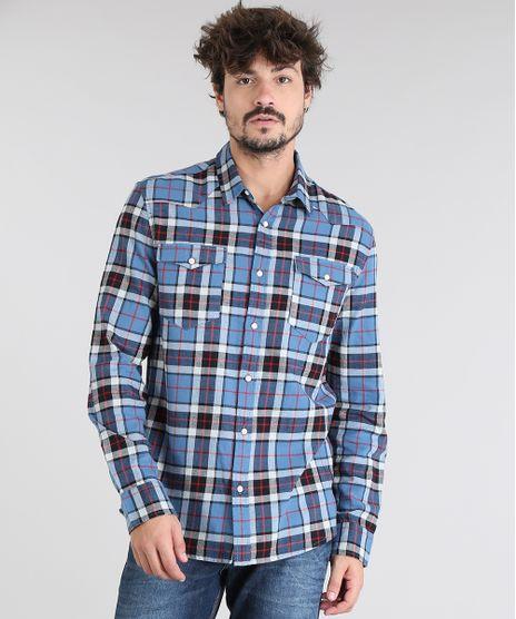 Camisa-Masculina-em-Flanela-Estampada-Xadrez-com-Bolso-Manga-Longa-Azul-Claro-9383070-Azul_Claro_1