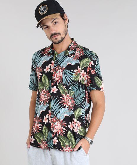 Camisa-Masculina-Estampada-Tropical-com-Bolso-Manga-Curta-Preta-9525315-Preto_1