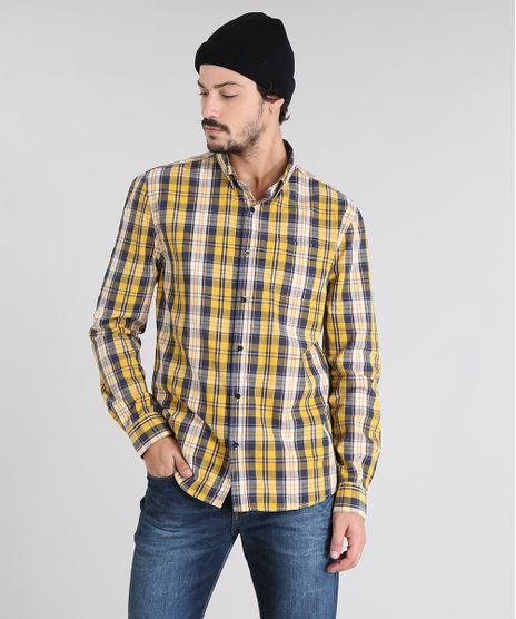 Camisa-Masculina-Estampada-Xadrez-com-Bolso-Manga-Longa-Amarela-9450957-Amarelo_1