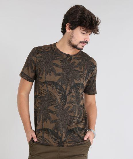 Camiseta-Masculina-Estampada-de-Coqueiros-Manga-Curta-Gola-Careca-Marrom-9531804-Marrom_1