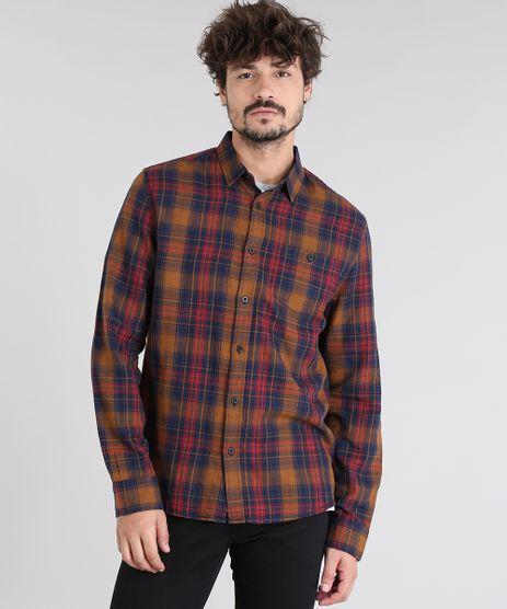 Camisa-Masculina-Estampada-Xadrez-com-Bolso-Manga-Longa-Caramelo-8448868-Caramelo_1