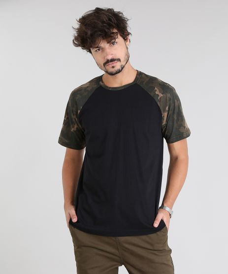 Camiseta-Masculina-Raglan-com-Estampa-Militar-Manga-Curta-Gola-Careca-Preta-9540848-Preto_1