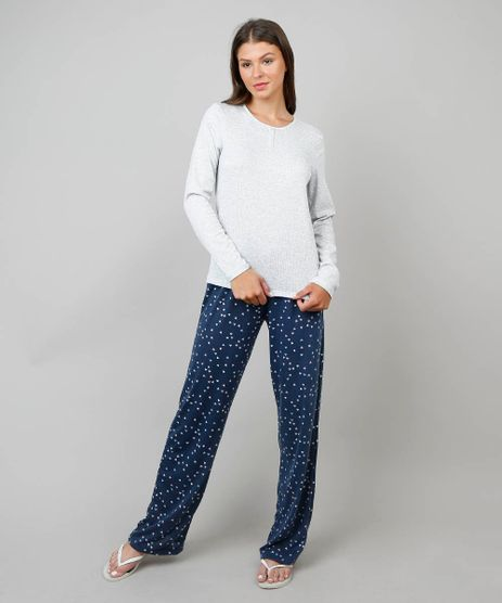 1c37f1765 Pijama-Feminino-Estampado-Coracoes-Manga-Longa-Cinza-Mescla-