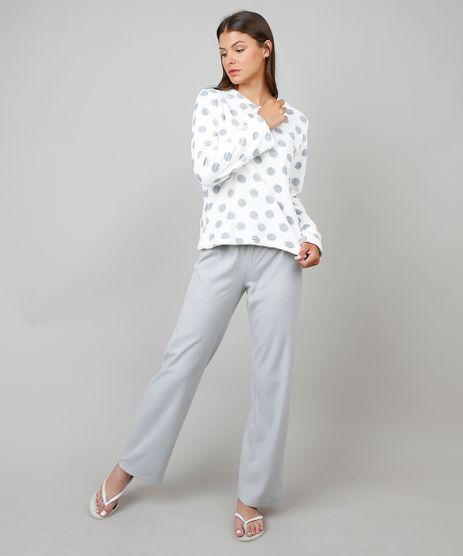 8b73d8c93 Pijama-de-Inverno-Feminino-em-Fleece-Estampado-Poa-