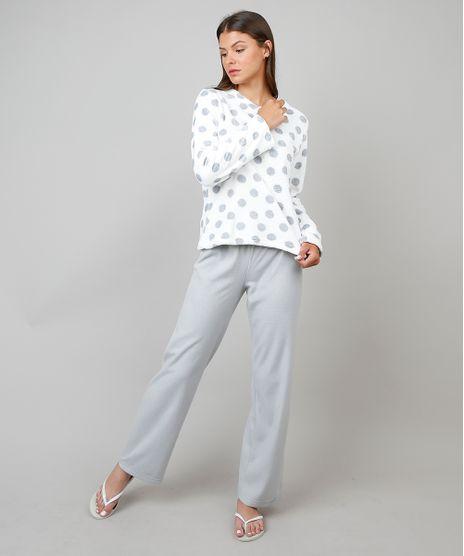 Pijama-de-Inverno-Feminino-em-Fleece-Estampado-Poa-Manga-Longa-Branco-9371452-Branco_1