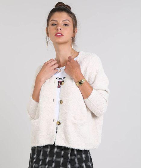 3ea9bcb2d5 Cardigan Feminino Amplo em Pelo com Bolsos e Botões Off White - cea