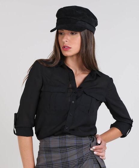 Camisa-Feminina-com-Transparencia-e-Bolsos-Manga-Longa-Preta-9440550-Preto_1