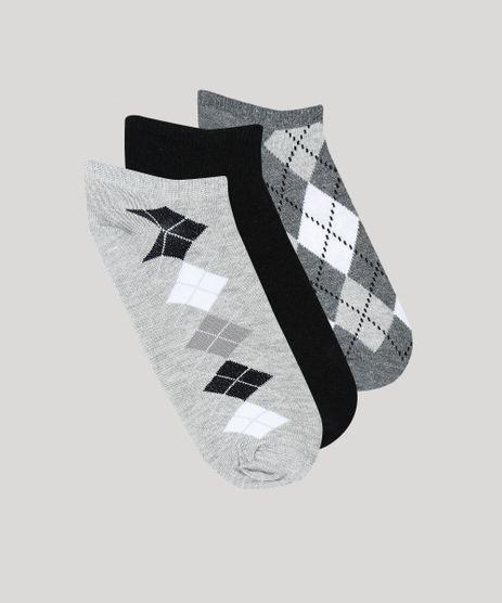 Kit-De-3-Meias-Femininas-Cano-Baixo-Xadrez-Argyle-Multicor-9542690-Multicor_1