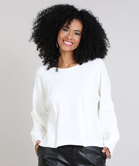 Blusa-Feminina-Ampla-em-Trico-Quadriculado-Off-White-9421138-Off_White_1