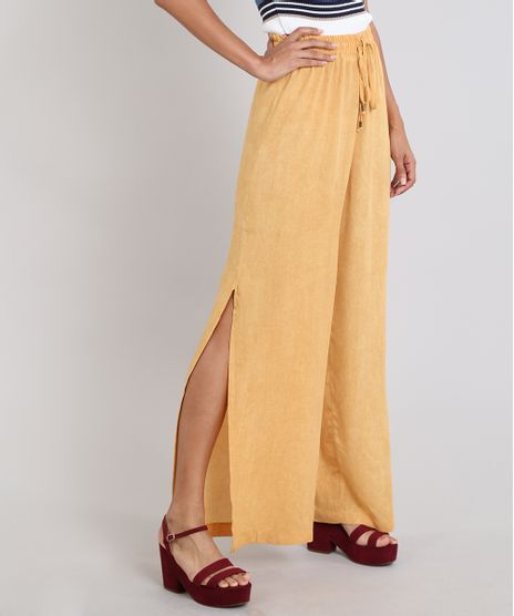 Calca-Feminina-Pantalona-Com-Fenda--Amarelo-Escuro-9506768-Amarelo_Escuro_1