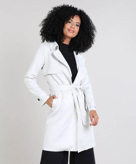 Casaco-Trench-Coat-Feminino-em-Suede-com-Bolsos-Off-White-9439917-Off_White_1