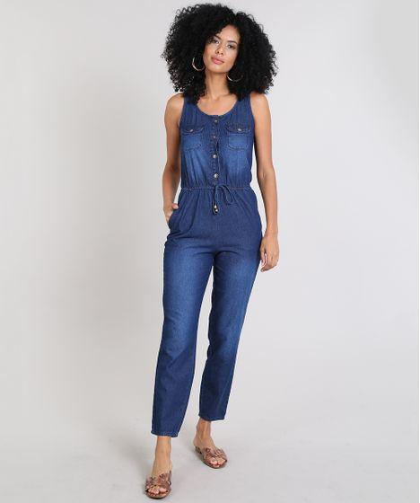 8e213a9e0 Macacão Jeans Feminino com Botões e Bolsos Azul Médio - cea