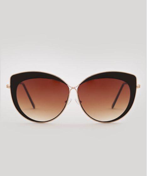 60eaef1fc Oculos-de-Sol-Gatinho-Feminino-oneself-Dourado-9585652- ...