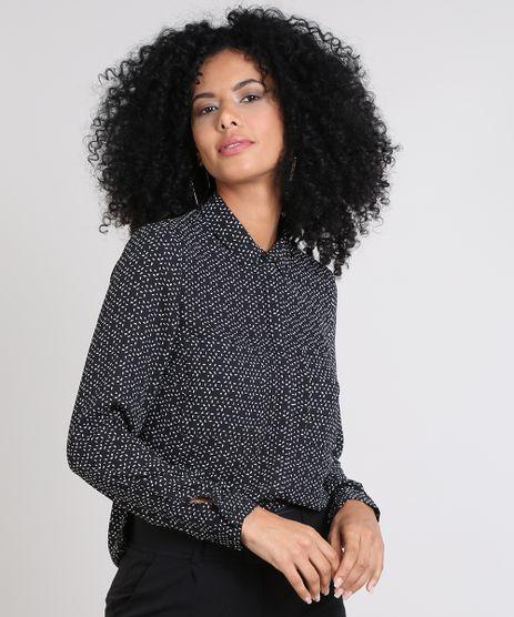 Camisa-Feminina-Estampada-Abstrata-com-Bolsos-Manga-Longa-Preta-9420406-Preto_1
