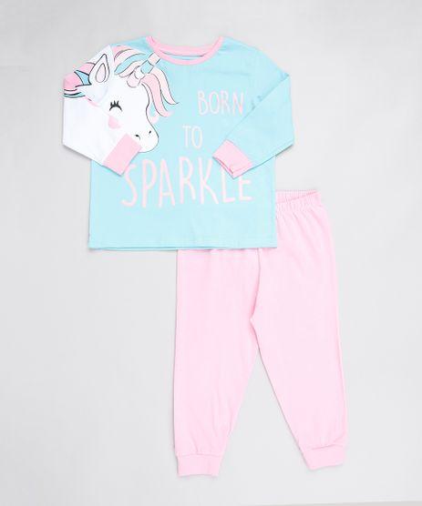 Pijama-Infantil-Unicornio--Born-to-Sparkle--Manga-Longa-Azul-9527872-Azul_1