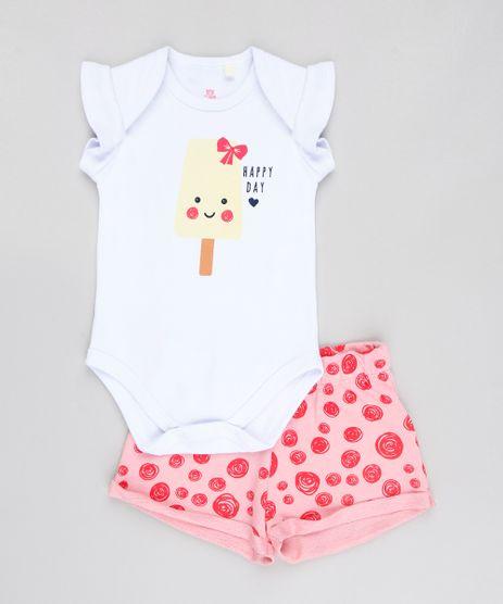 Conjunto-Infantil--Happy-Day--de-Body-Sem-Manga-Branca---Short-Estampado--Rosa-9547727-Rosa_1