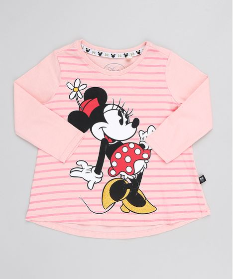 63553bab60 Blusa Infantil Minnie Manga Longa Decote Redondo Rosa - cea