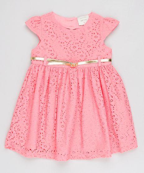 Vestido-Infantil-com-Renda-e-Cinto-Manga-Curta--Rosa-9566305-Rosa_1