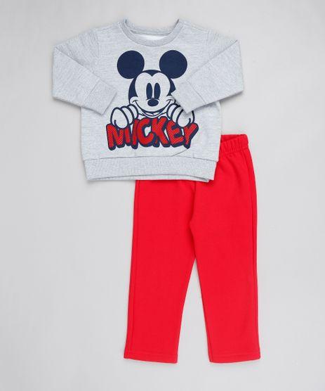 Conjunto-Infantil-Mickey-de-Blusao-em-Moletom-Cinza-Mescla---Calca-Em-Moletom--Vermelha-9502053-Vermelho_1