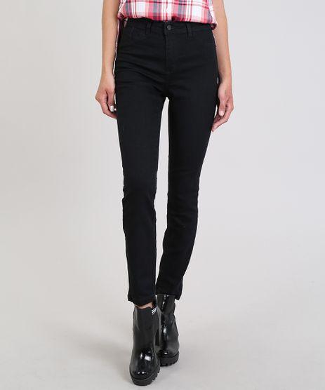Calca-Jeans-Feminina-Cigarrete-com-Cintura-Media-Preta-9042824-Preto_1