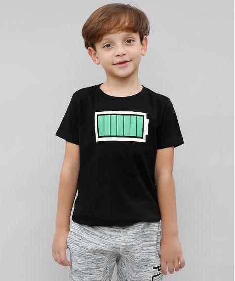 ebaaf0dce5 Camiseta Infantil Bateria Carregada Manga Curta Gola Careca Preta - cea