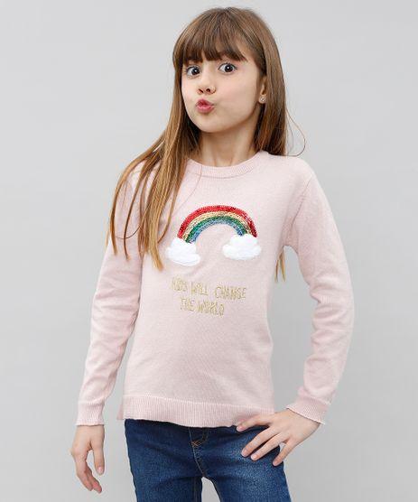 Sueter-Infantil-em-Trico-com-Paetes-Rosa-9434401-Rosa_1