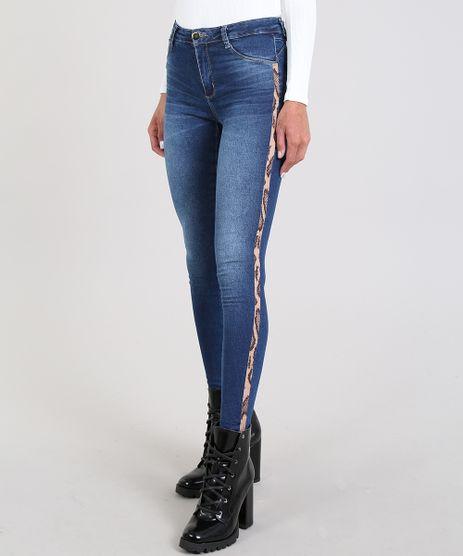 Calca-Jeans-Feminina-Sawary-Cigarrete-com-Faixa-Lateral-Animal-Print-Azul-Escuro-9581044-Azul_Escuro_1