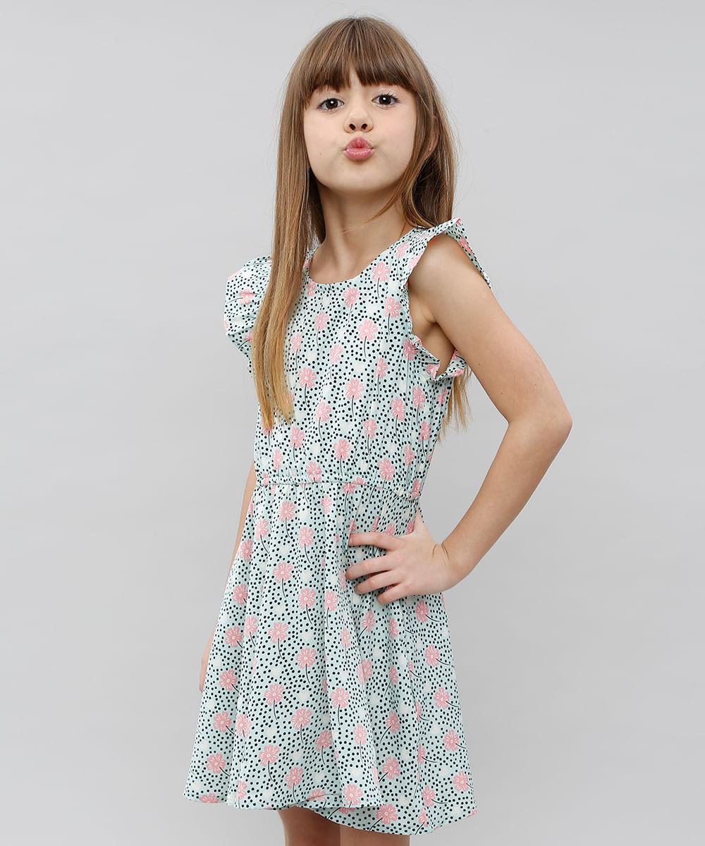 040c58afc Vestido Infantil Estampado Floral Manga Curta Verde - ceacollections