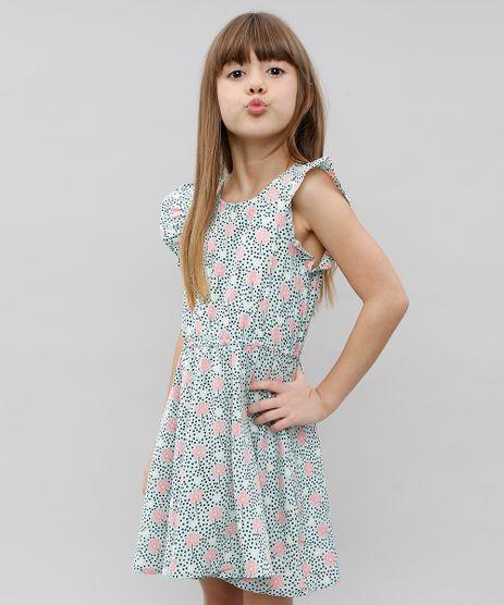 Vestido-Infantil-Estampado-Floral-Manga-Curta-Verde-9372891-Verde_1