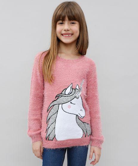 Sueter-Infantil-Unicornio-em-Trico-Felpudo-Rosa-Escuro-9434399-Rosa_Escuro_1