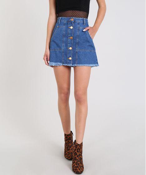 e9a2f9034 Saia Jeans Feminina Reta Com Botões Azul Médio - cea