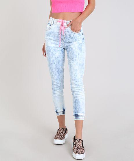 Calca-Jeans-Feminina-Sawary-Jogger-com-Cordao-Neon-Azul-Medio-9581042-Azul_Medio_1