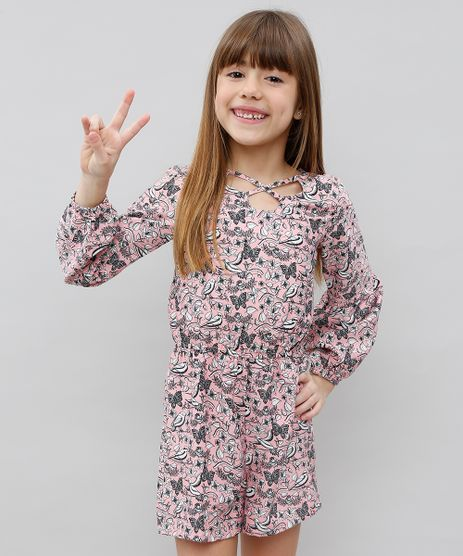 Macaquinho-Infantil-Estampado-Floral-Manga-Longa-Coral-9371293-Coral_1