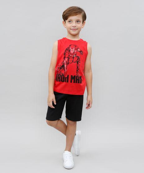 Conjunto-Infantil-Homem-de-Ferro-de-Regata-Vermelha---Bermuda-Preta-9526396-Preto_1