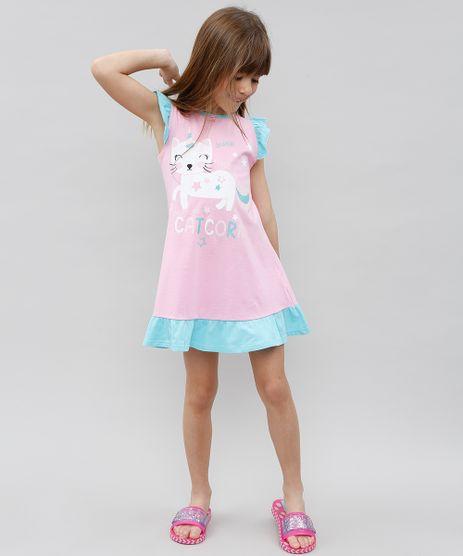 Camisola-Infantil-Gato-Unicornio-com-Babado-Sem-Manga-Rosa-9527873-Rosa_1