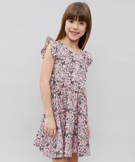 Vestido-Infantil-Estampado-Floral-Manga-Curta-Rosa-9372887-Rosa_1