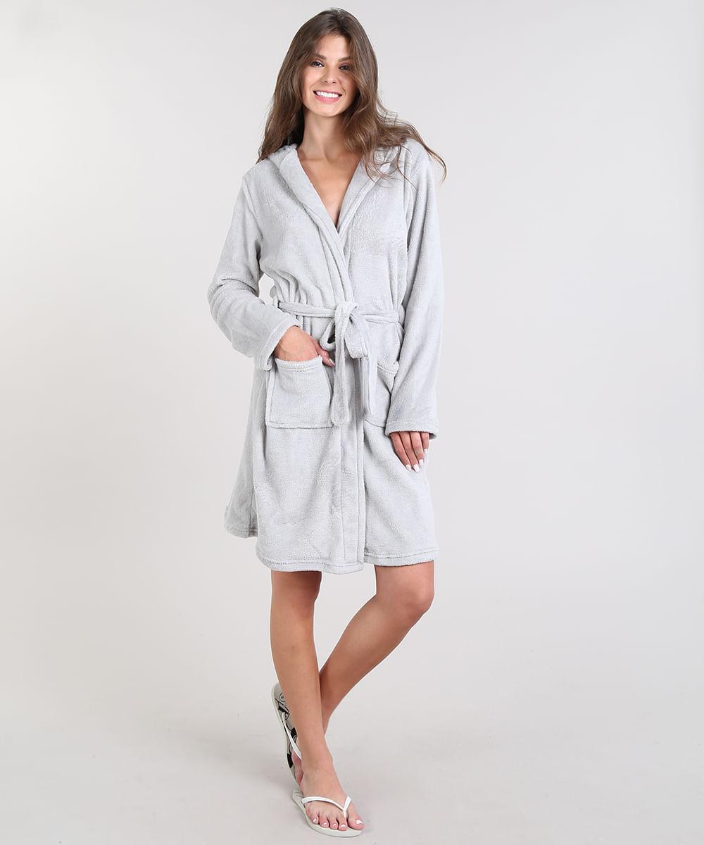 e3309fcc8e61c5 Roupão Feminino em Fleece Estampado de Coala com Capuz Manga Longa ...