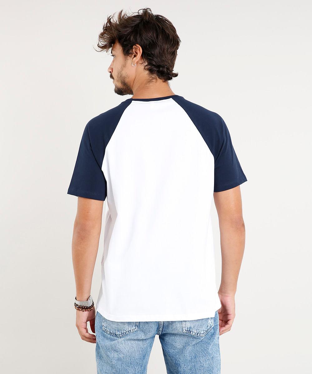 1516ce71fb Camiseta Masculina Básica Raglan Manga Curta Gola Careca Branca - cea