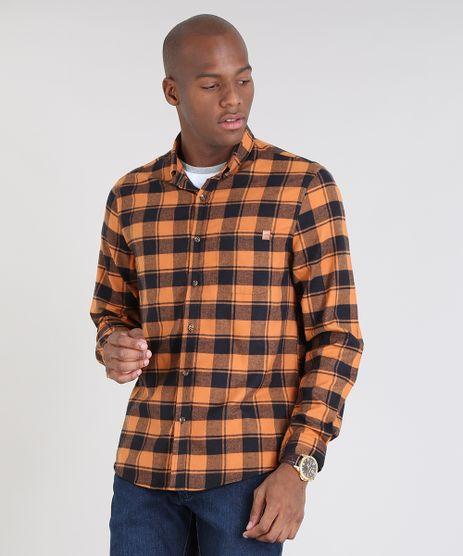Camisa-Masculina-Comfort-Estampada-Xadrez-em-Flanela-Manga-Longa-Caramelo-9530839-Caramelo_1