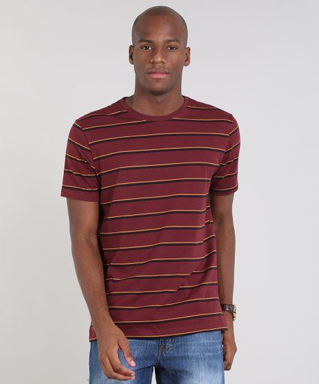 Camiseta-Masculina-Basica-Listrada-Manga-Curta-Gola-Careca-Vinho-9448510-Vinho_1