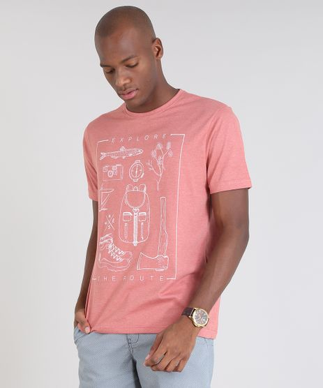 Camiseta-Masculina--Explore-the-Route--Manga-Curta-Gola-Careca-Coral-9529640-Coral_1