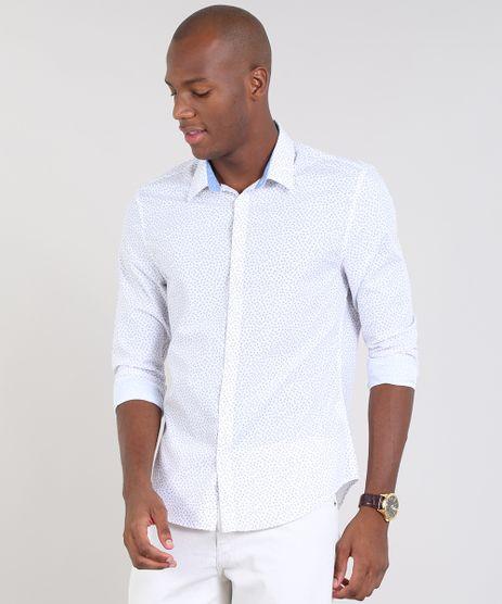 Camisa-Masculina-Slim-Estampada-Mini-Print-Floral-Manga-Longa-Branca-9436430-Branco_1