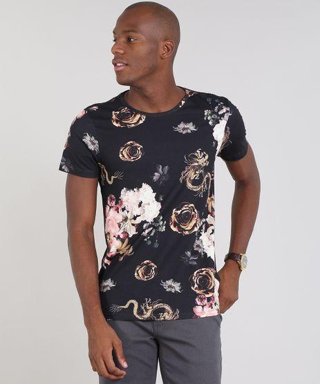 Camiseta-Masculina-Slim-Fit-Estampada-Floral-Manga-Curta-Gola-Careca-Preta-9485137-Preto_1