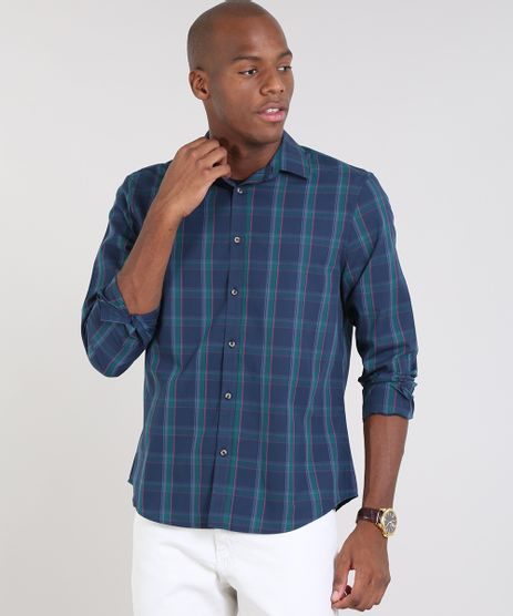 Camisa-Masculina-Comfort-Estampada-Xadrez-Manga-Longa-Azul-Marinho-9436394-Azul_Marinho_1