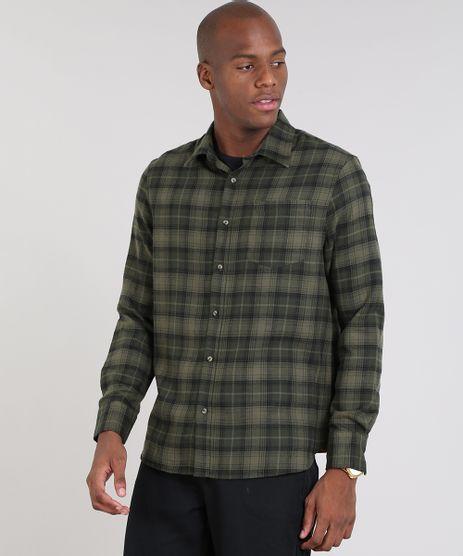 Camisa-Masculina-Comfort-Estampada-Xadrez-em-Flanela-Manga-Longa-Verde-Militar-9440152-Verde_Militar_1