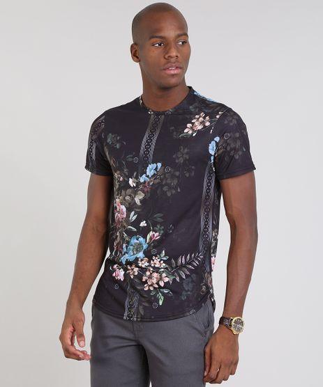 Camiseta-Masculina-Slim-Fit-Estampada-Floral-Manga-Curta-Gola-Careca-Preta-9529471-Preto_1