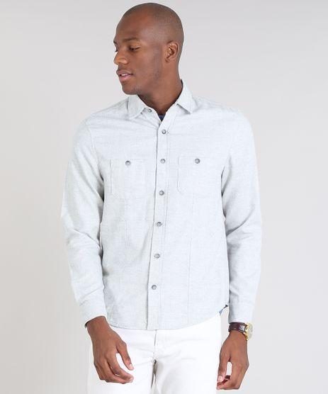 Camisa-Masculina-Comfort-com-Bolsos-Cinza-Mescla-Claro-9466515-Cinza_Mescla_Claro_1