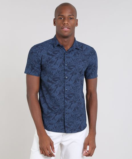 Camisa-Masculina-Relaxed-Estampada-de-Folhagem-Manga-Curta-Azul-9466512-Azul_1